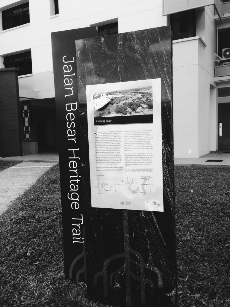 At Kallang Basin, one of the trail marker of the Jalan Besar Heritage Trail.