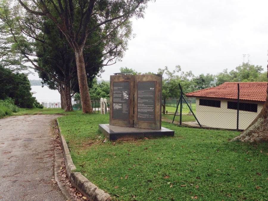 A much treasured photo of the Sarimbun beach landing WWII heritage trail marker because we had to trek all the way in!